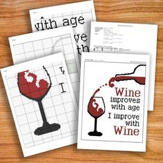 BOGO SALE Cross stitch pattern Glass of Wine Instant