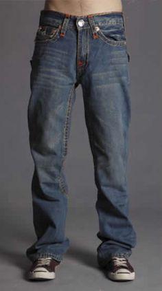Men's True Religion Retro Flare Yellow Thread Combination Jeans