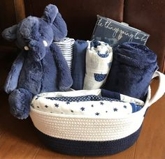 Baby boy elephant basket cute baby shower gift gray neutral arlo elephant baby gift basket negle Images