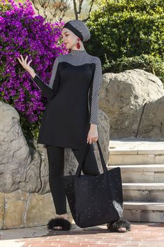 Modest swimwear with plus size option. For the ladies who wants to be chic with beautifully designed burkini swimwear. Islamic Swimwear, Swimming Outfit, Modest Swimsuits, Tee Shirt Designs, Hijab Outfit, Black Pattern, Elegant Woman, Hijab Fashion, Cold Shoulder Dress