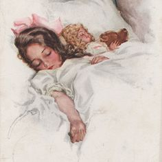 Girl Asleep - Doll - Teddy Bear By Harrison Fisher Original Vintage Art Postcard