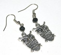 Owl Earrings, Silver Owl Jewelry, by groovychickjewelry, $7.50