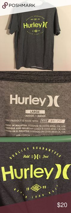 Men's Hurley T Shirt Gray and Neon Yellow Hurley Tshirt. Never worn. Feel free to make an offer! Hurley Shirts Tees - Short Sleeve