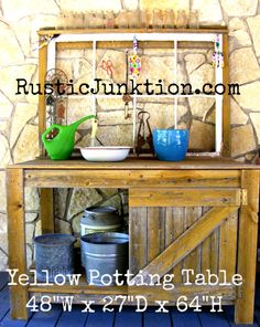 This potting table is made from reclaimed fence pickets and a wood window. The chicken wire is perfect for hanging gardening tools. $350.00 at RusticJunktion.com. Potting Tables, Wood Windows, Gardening Tools, Chicken Wire, Fence, Canning, Wooden Window Boxes, Mesh Fencing, Chain Link Fencing