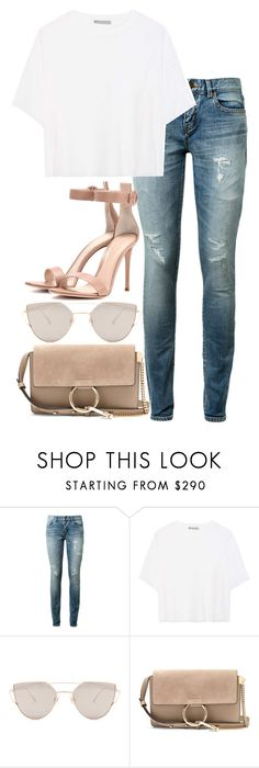 """""""Untitled #3095"""" by elenaday on Polyvore featuring Yves Saint Laurent, Vince, Gentle Monster, Chloé and Gianvito Rossi"""