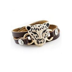 Gold Leopard Brown Multilayer Leather Bracelet (€6,50) ❤ liked on Polyvore featuring jewelry, bracelets, leopard jewelry, brown gold jewelry, leopard print jewelry, leather jewelry and gold jewellery