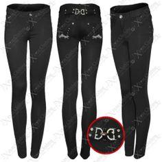 NEW LADIES WOMEN GEM JEWEL BUCKLE BLACK LEGGING SKINNY LOOK JEGGINGS JEANS PANTS | eBay #fashion #clothing #style #shopping #sale
