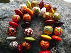 SRA HANDMADE LAMPWORK Bright and Bold Glass Bead Necklace - Autumn Fire