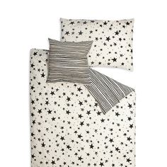 Bedding Set . Organic Cotton . Black Stars & Stripes -  Single