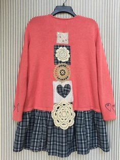 Upcycled Sweater Cardigan Wearable art Patchwork sweater
