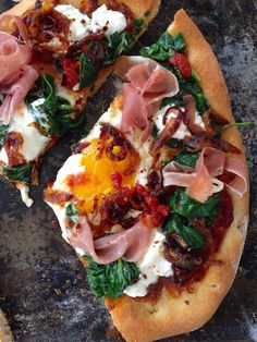 Egg Pizza Recipe with Prosciutto Ricotta and Spinach , the ultimate breakfast pizza, creamy yolk, arrabiata & caramelized onions on a rustic pizza dough