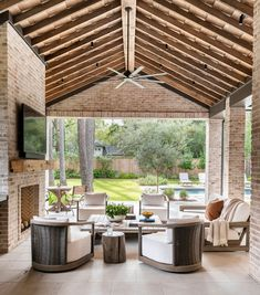 Outdoor living room | Thompson Custom Homes Outdoor Spaces, Outdoor Living, Outdoor Decor, Patio Design, Exterior Design, Ceiling Detail, Wood Beams, Rental Property, Custom Homes