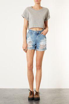 MOTO Ripped Denim Boy Shorts - Shorts - Clothing - Topshop USA