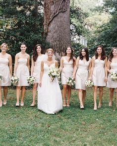 Bridesmaids wore short J.Crew dresses and carried petite bouquets that complemented the bride's. Low Key Wedding, Wedding Prep, Casual Wedding, Plan Your Wedding, Summer Wedding, Wedding Day, Unique Weddings, Real Weddings, Bridesmaid Dresses