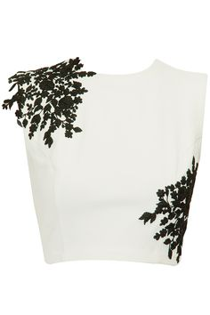 Ivory crop top with black floral detailing available only at Pernia's Pop-Up Shop.