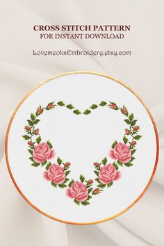 "This is modern cross stitch pattern of ""Flower Heart"" for instantly downloadable after purchase, so you can start stitching right away! Embroider with pleasure and decorate your house with your beautiful works! Design 720. DMC colors: 11, 158 stitches wide x 138 stitches high"