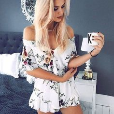 Cheap summer playsuit, Buy Quality beach playsuit directly from China jumpsuit beach Suppliers: New Boho White Floral Print Off Shoulder Overalls Summer Playsuits Female Sexy Strapless Women Short Jumpsuit Beach Playsuit Beach Playsuit, Short Playsuit, Floral Playsuit, Floral Jumpsuit, Elegant Jumpsuit, Short Jumpsuit, Casual Jumpsuit, Casual Shorts, Girls Playsuit