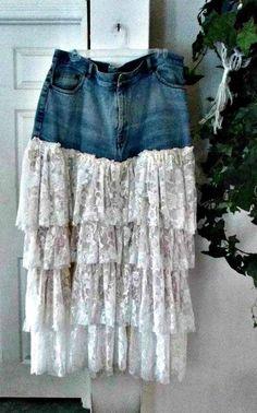 Belle Bohémienne plus size ruffled ivory lace jean skirt exquisite vintage fairy goddess Gatsby era Rag Skirt, Fringe Skirt, Lace Jeans, Denim And Lace, French Bohemian, French Lace, Vintage Denim, Vintage Lace, Gatsby