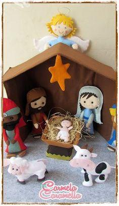 Felt Christmas Decorations, Felt Christmas Ornaments, Christmas Nativity, Christmas Holidays, Christmas Crafts, Felt Patterns, Stuffed Toys Patterns, Christian Christmas, Felt Toys