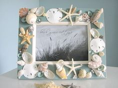 Pic frames idea for fam.wall of pics. Paint frames,so seashells stand out,