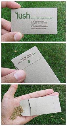 I love this idea for a business card!  Lawn Care.  Landscapers.  Nurseries.  Or any business interested in growth.