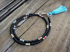 Black Tassel Friendship Bracelet Multi Colored Seed Beads