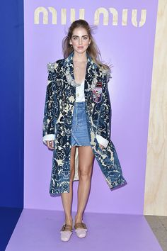 Chiara Ferragni attends the Miu Miu show as part of the Paris Fashion Week Womenswear Spring/Summer 2017 on October 5 2016 in Paris France