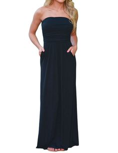 Solid Black Strapless Maxi Boho Dress