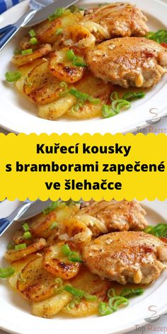 Kuřecí kousky s bramborami zapečené ve šlehačce Chicken Wings, Poultry, Ham, Food And Drink, Cooking Recipes, Beef, Recipes, Meat, Backyard Chickens