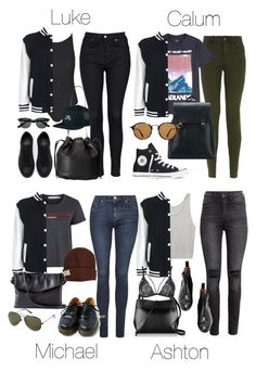 """""""5SOS Styles: Varsity Jacket"""" by fivesecondsofinspiration ❤ liked on Polyvore featuring Topshop, Zara, Kate Spade, NIKE, Converse, Ray-Ban, Project Social T, Helmut Lang, H&M and Krochet Kids"""