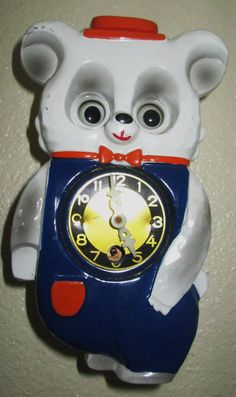 Vintage Mi-Ken Animated Clock.  Plastic Bear by YesterdaysToys