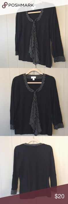 NWOT Talbots sweater So super chic! Black, lightweight. Feels like a really soft tshirt. Cute polka dot tie scarf and collar. Never been worn! Talbots Sweaters