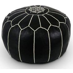 Black Moroccan leather Pouf Ottoman Footstool Poof Pouffe Ottomans