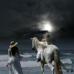 Kids riding bareback on horse at beach. Horse Art Photograph - Beneath The Illusion In Color by Sharon Mau