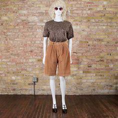 high waist corduroy shorts / 80s shorts / knee length shorts /
