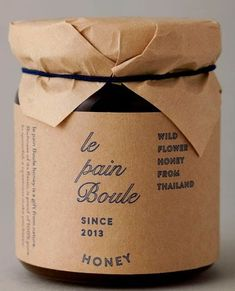 I love the simplicity through materials in the identity, packaging and art direction for Le Pain Boule , designed by Artless . Love the nat. Honey Packaging, Candle Packaging, Bottle Packaging, Chocolate Packaging, Coffee Packaging, Jar Design, Bottle Design, Label Design, Package Design