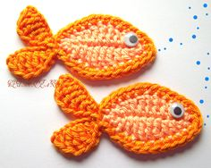 Nice idea to make smth similar for a fish hairclip instead of the usual flower . Fishes amigurumi crochet applique - pattern