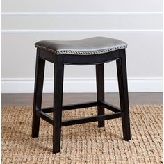 Abbyson Rivoli Grey Leather Nailhead Trim Gray Leather Counter Stool - On Sale - Overstock - 10119571 Leather Counter Stools, Leather Stool, Counter Height Stools, Counter Tops, Find Furniture, Dining Furniture, Furniture Outlet, Online Furniture, Furniture Websites