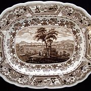 SALE Staffordshire Romantic Brown Transferware Platter ~ CLYDE SCENERY 1830