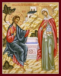 Proclamation of the Kingdom. St. Photini (the Samaritan Woman) at Jacob's Well. Orthodox icon.