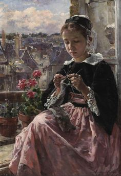Marie Aimee Lucas-Robiquet - A Young Breton Girl Knitting by the Window