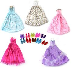 Mix Style Handmade Gorgeous Barbie Doll Party Clothes Dress x5 & Shoes x 10 Gift ReFaXi