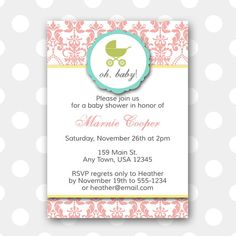 Printable Baby Shower Invitation  Damask by inglishdigidesign, $10.00
