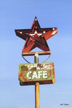 Custom Acrylic Painting of Vintage Road Sign - Star Cafe - Route 66 Texas