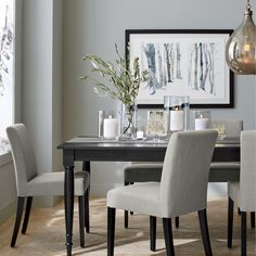 Stylish and contemporary Lowe wraps the classic Parsons-style chair in pure color. With a roomy cushioned seat and back, it's designed for lingering at almost any style dining room table.