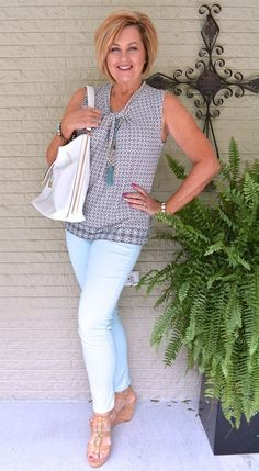 50 is not old shades of mint summer jeggings fashion over 40 for the everyd Older Women Fashion, Fashion For Women Over 40, 50 Fashion, Women's Fashion Dresses, Look Fashion, Fashion Trends, Fashion 2018, Woman Fashion, Ladies Fashion
