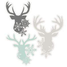 Snowflake Deer Head Set SVG scrapbook cut file cute clipart files for silhouette cricut pazzles free svgs free svg cuts cute cut files
