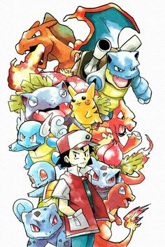 Original Red Pokemon by Foxeaf on DeviantArt Pokemon Manga, Pokemon Fan Art, Old Pokemon, Pokemon Sketch, Pokemon Red, Pikachu Art, Pokemon Tattoo, Original Pokemon, Red Manga