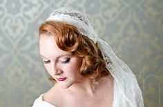 Morgan - Vintage Style Handmade Lace Fingertip Veil Juliet Cap Mantilla. $80.00, via Etsy.