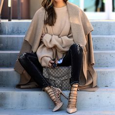 Camel coat, cozy knitwear and skinny jeans for fall style. AQUAZZURA amazon suede heel